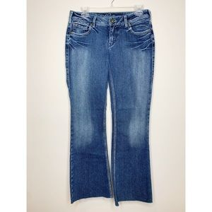 Silver Aiko Mid-Rise Slim Bootcut Jeans